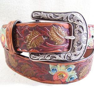 Genuine Leather Embossed & Painted Southwest Belt